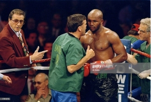 22 Apr 1994: Teddy Atlas and Michael Moorer confer during a bout against Evander Holyfield in Las Vegas, Nevada. Moorer won the fight in 12 rounds. Mandatory Credit: Al Bello /Allsport